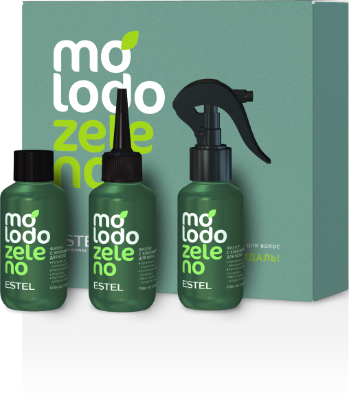 Филлер с хлорофиллом для волос Molodo Zeleno  100мл х 3